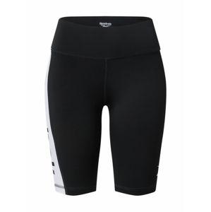 REEBOK Sportovní kalhoty  bílá / černá