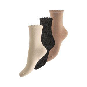 PIECES Ponožky 'Ebby'  černá / béžová / krémová