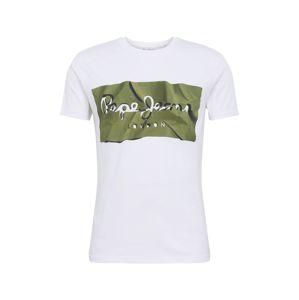 Pepe Jeans Tričko 'RAURY'  zelená / bílá