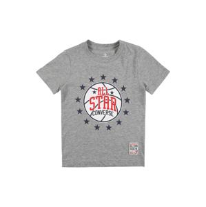 CONVERSE Tričko  šedý melír / námořnická modř / červená