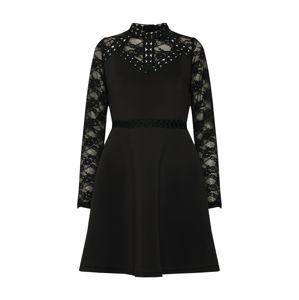 Lost Ink Koktejlové šaty 'Trim and Lace Scuba Fit & Flare Dress'  černá