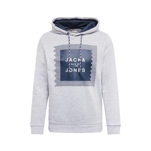 JACK & JONES Mikina 'Booster'  světle šedá / námořnická modř / bílá