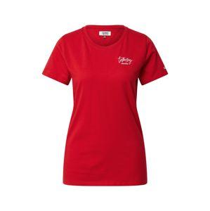 Tommy Jeans Tričko  červená / bílá