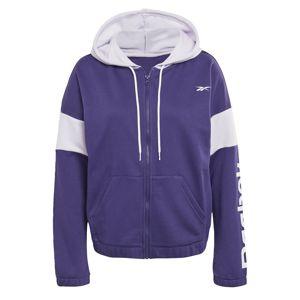 REEBOK Sportovní mikina s kapucí  tmavě fialová / bílá