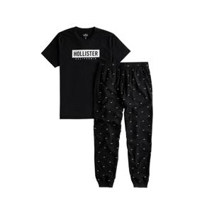 HOLLISTER Domácí oblečení  černá / bílá