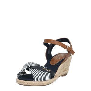 TOM TAILOR Páskové sandály  modrá / bílá / hnědá
