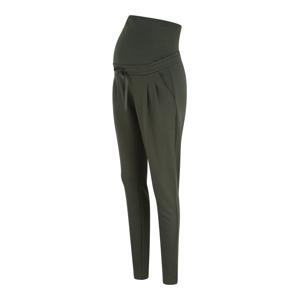 MAMALICIOUS Kalhoty se sklady v pase  zelená