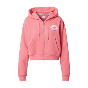 Tommy Jeans Mikina s kapucí  pink / bílá