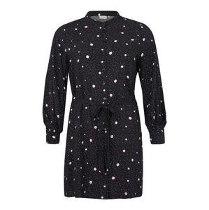 ONLY Carmakoma Košilové šaty 'CARDOT'  černá / bílá