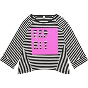 ESPRIT Tričko  pink / černá / bílá