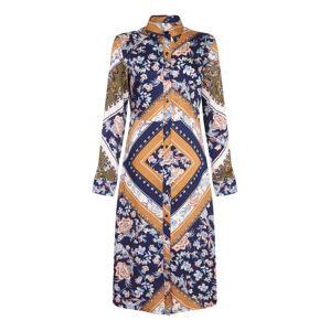 Mela London Letní šaty 'SCARF PRINT SHIRT DRESS'  námořnická modř / okrová