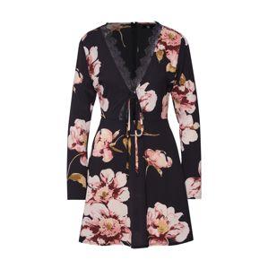 Missguided Letní šaty 'LONG SLEEVE LACE DETAIL SKATER DRESS'  růžová / černá