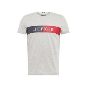 TOMMY HILFIGER Tričko  šedý melír / námořnická modř / bílá / červená