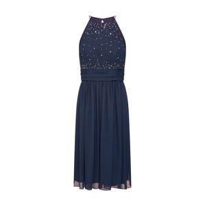 STAR NIGHT Koktejlové šaty 'short dress (005 long version) chiffon & rhinestones'  námořnická modř