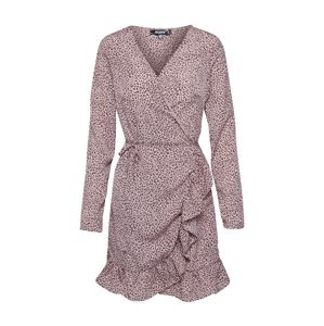 Missguided Šaty 'TIE BELT RUFFLE HEM WRAP TEA DRESS LEO'  pink