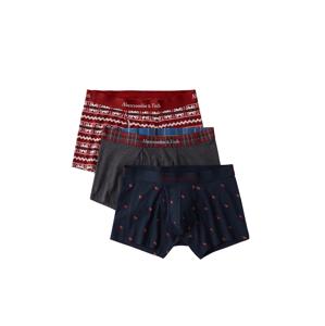 Abercrombie & Fitch Boxerky  šedá / červená / noční modrá
