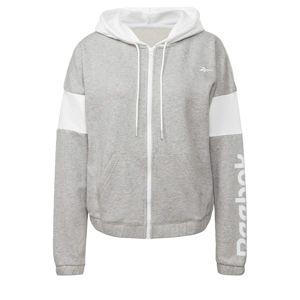 REEBOK Sportovní mikina s kapucí  bílá / světle šedá