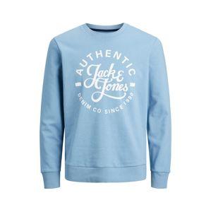 JACK & JONES Mikina  nebeská modř / bílá