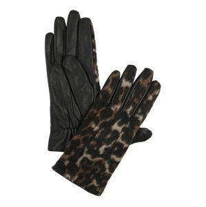 PIECES Prstové rukavice 'PCHAILO LEO LEATHER GLOVES'  béžová / hnědá / černá