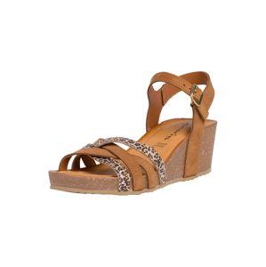 TAMARIS Páskové sandály  šedá / koňaková