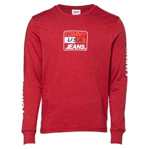 Tommy Jeans Tričko  vínově červená / bílá / grenadina / marine modrá