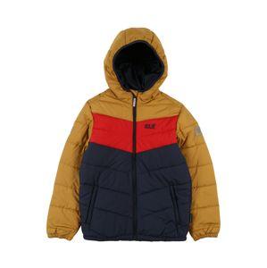 JACK WOLFSKIN Sportovní bunda 'THREE HILLS'  zlatě žlutá / marine modrá / červená